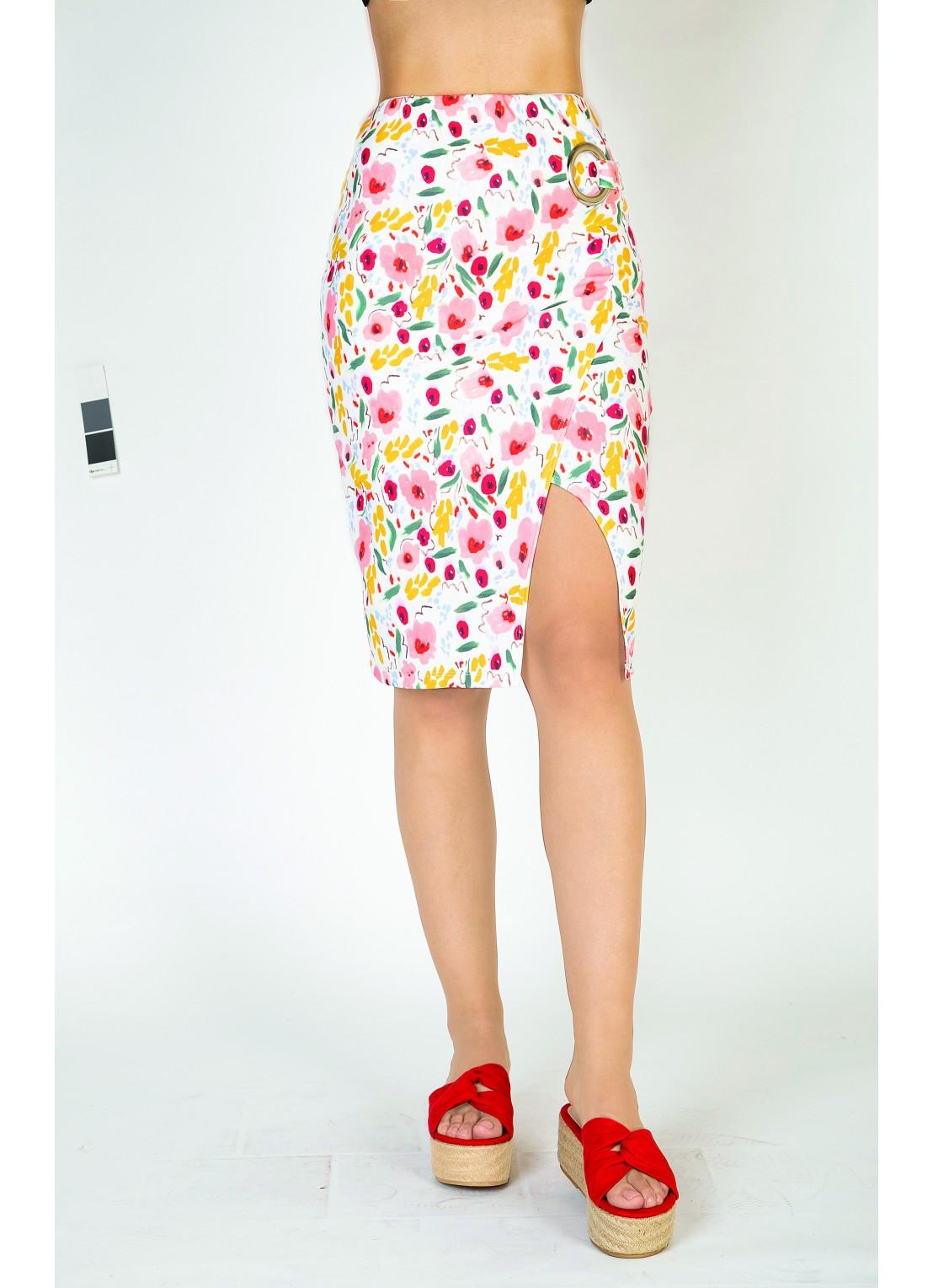 Falda medio multicolor