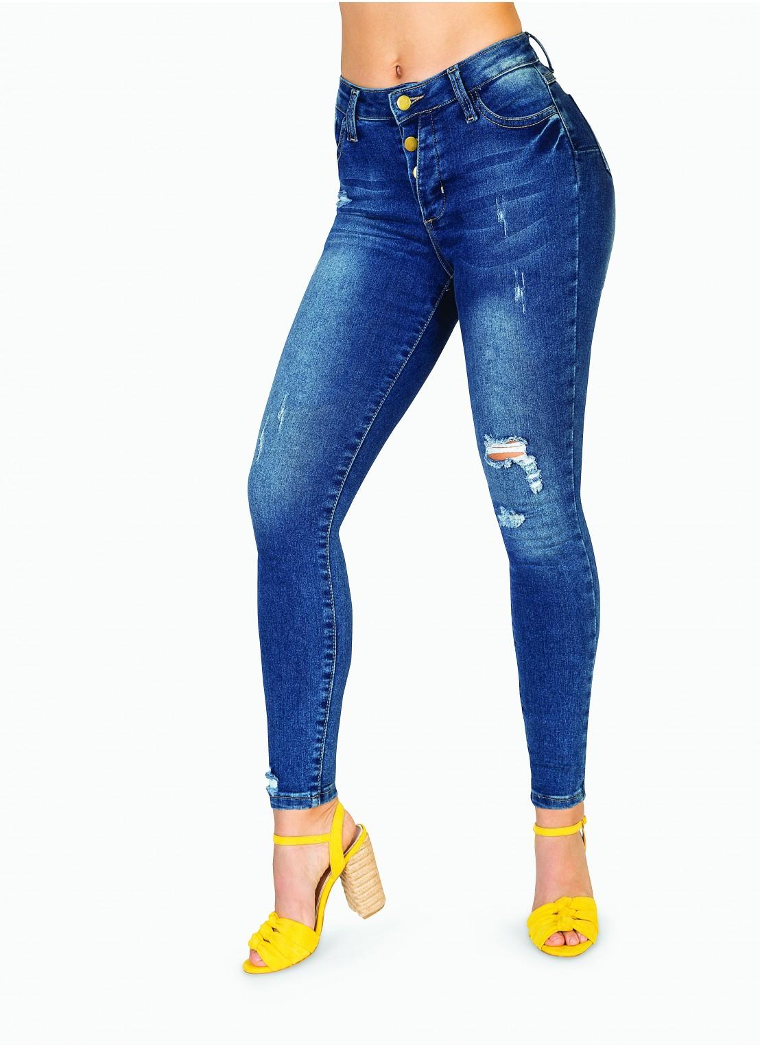 Jeans tobillero mezclilla