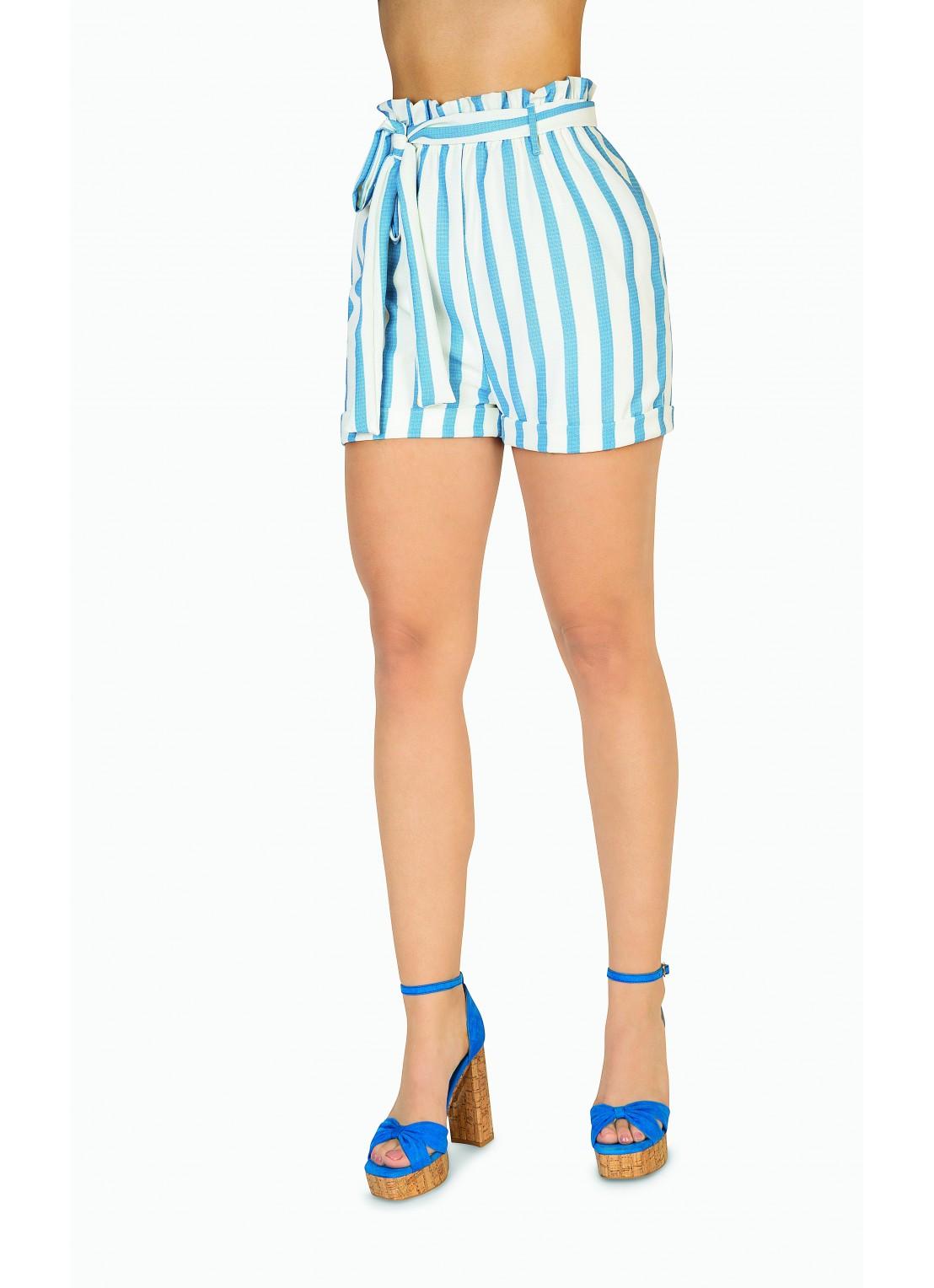 Short corto azul/ivory