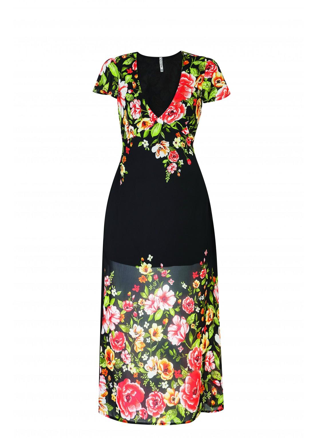 Vestido medio negro multicolor