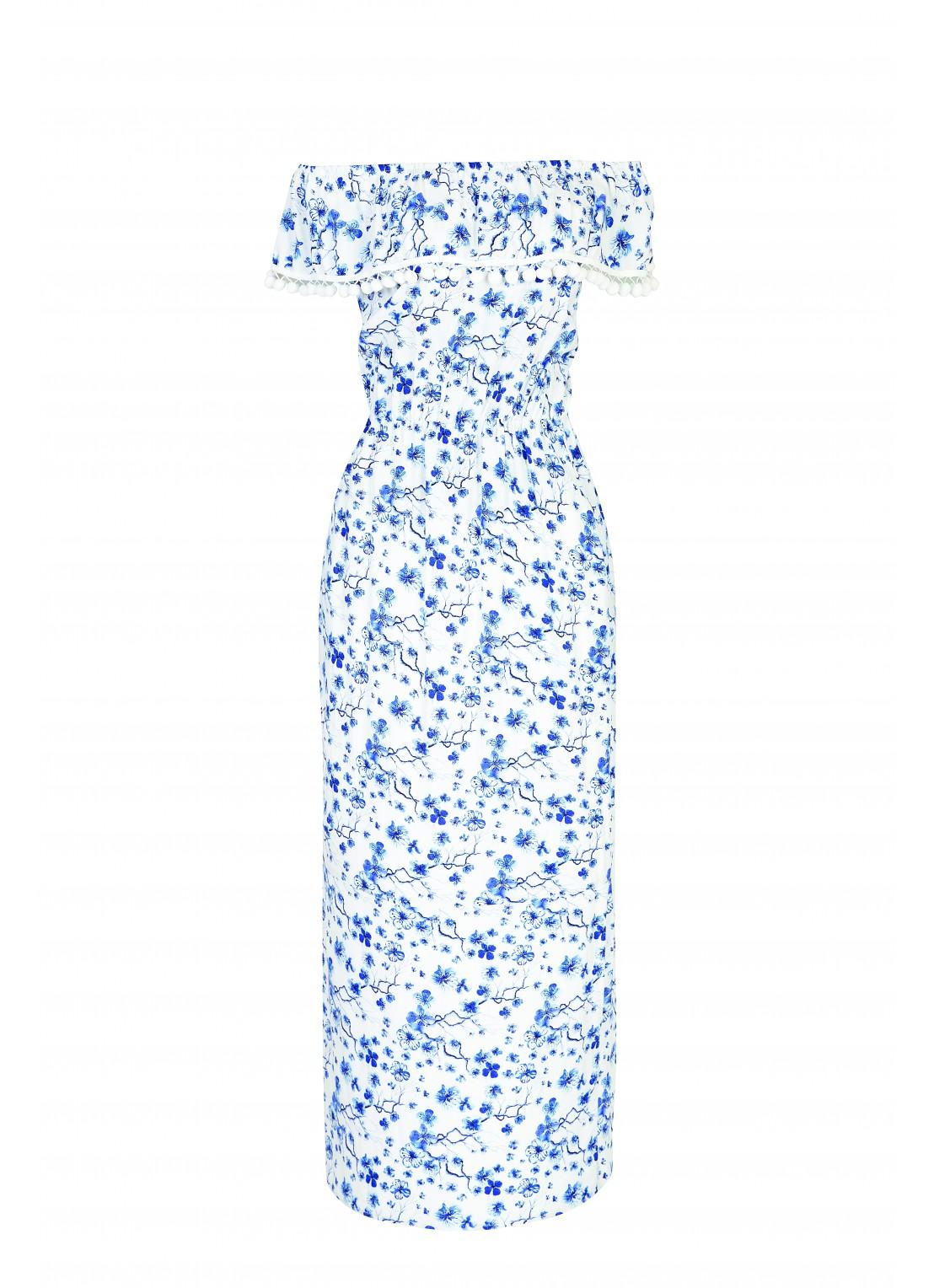 Vestido medio ivory/azul