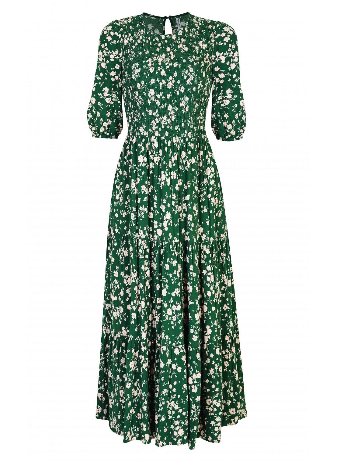 Vestido largo verde / beige